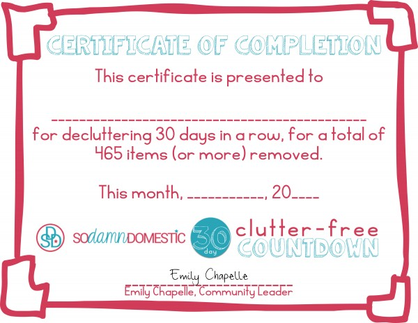 30 day clutter free certificate of completion