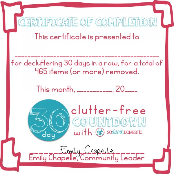 30 day clutter free certificate of completion instagram