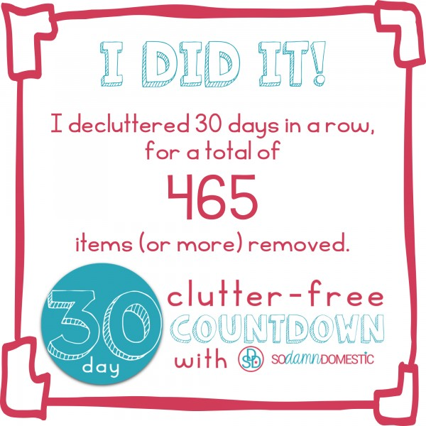 30 day clutter free certificate of completion instagram2