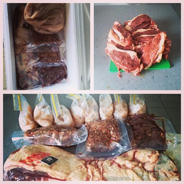 buy meat in bulk and put it in your freezer in individual servings to save money and sanity.