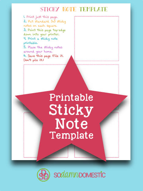 Blank Printable Sticky Note Template