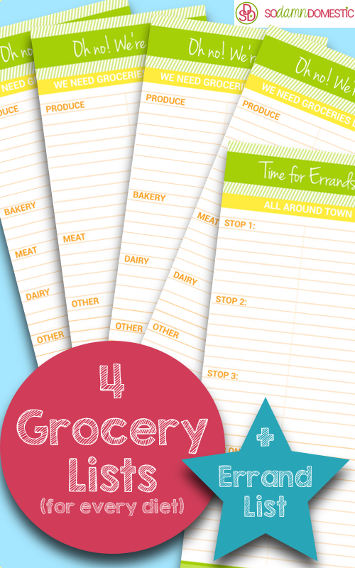 free printable grocery lists errand planner