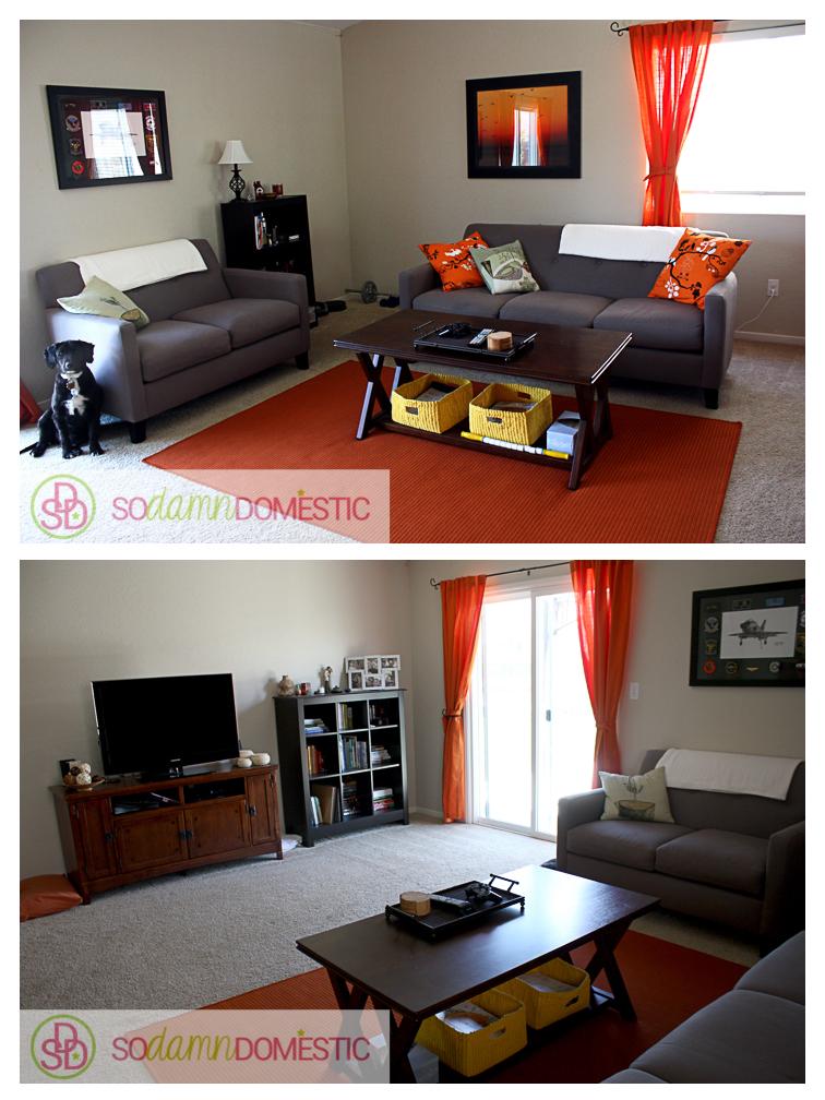 awkwardly wide living room arrangement