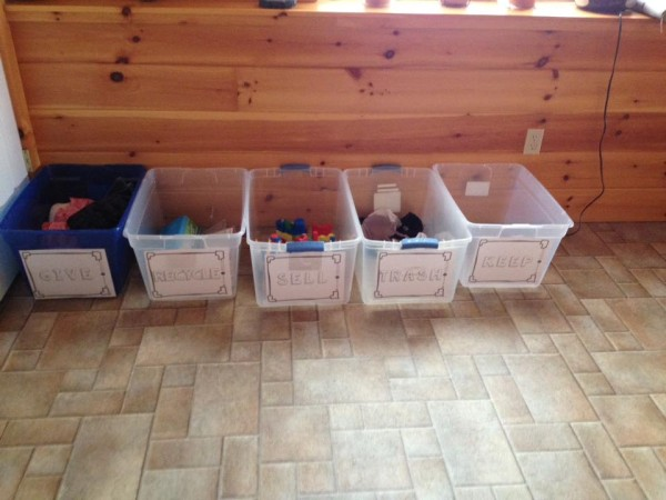 Jessica M. is ready to start the 30 day clutter-free countdown! She used the printable labels in the starter kit with plastic tubs to get ready for the decluttering challenge.