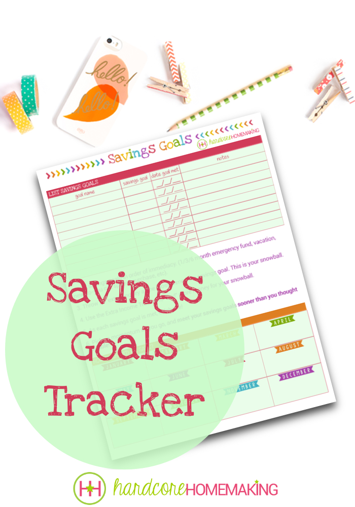 savings goals tracker printable
