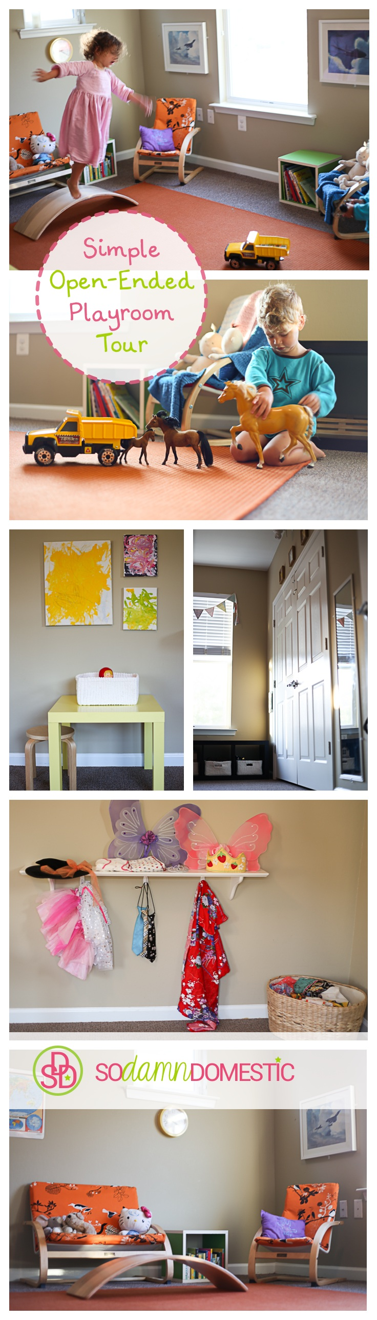 Simple, open-ended playroom tour. Lots of tips for keeping things simple and encouraging creativity.