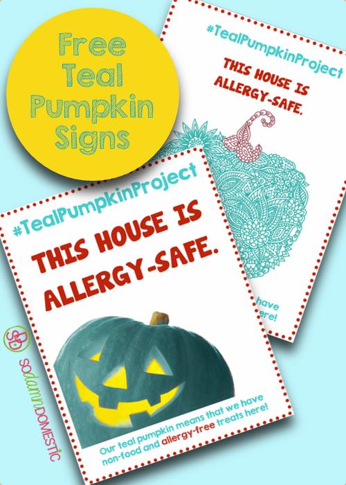 Free Teal Pumpkin Project Printable Signs - #allergyfree #tealpumpkinproject #halloween